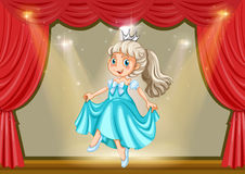 Girl in princess costume on stage Royalty Free Stock Photography