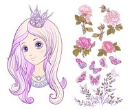 Girl with princess crown and colored long hair and set of roses, Royalty Free Stock Image