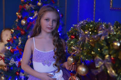 Girl in princess dress at the Christmas tree. Portrait of cute little girl in princess dress Royalty Free Stock Photo