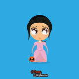 Girl With Princess Halloween Costume Isolated Stock Photography