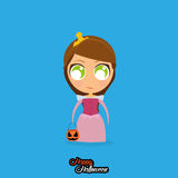 Girl With Princess Halloween Costume Isolated Royalty Free Stock Photos