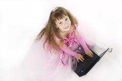 Girl princess and notebook. Stock Photos