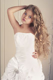 Girl princess in white ball gown Royalty Free Stock Photography