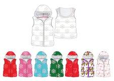 Girl print design padded fur hood gilet  template Royalty Free Stock Photo