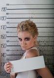 Girl in prison. profile Stock Image