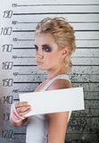 Girl in prison. profile Royalty Free Stock Photography