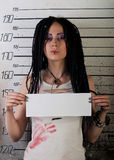 Girl in prison. profile photo Royalty Free Stock Photography