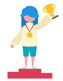 A girl with a prize royalty free illustration