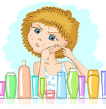 Girl with problem skin. And with displeased face is squeezing out big pimple at her cheek. Various cosmetic products in front of her. Skin care and beauty Stock Photography