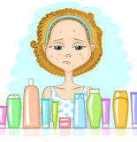 Girl with problem skin Royalty Free Stock Photo