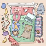 Girl procrastinating on the bed. Big mess at home. Comic style image. Top view vector illustration