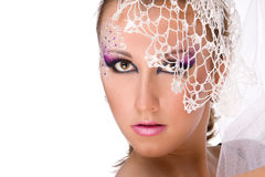 Girl Professionally Makeup In White Veil Stock Photography