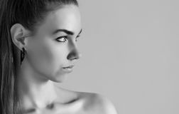 Girl in profile. Royalty Free Stock Photography