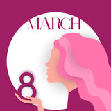Girl Profile Hold 8 March International Women Day Greeting Card. Female Face Vector Illustration Stock Images