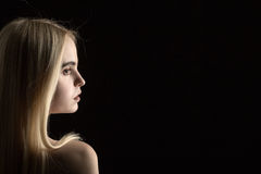 Girl profile portrait Royalty Free Stock Photo