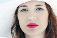 Girl profile portrait hat Stock Image