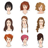 Girl profile set. Hair dress female collection Royalty Free Stock Images