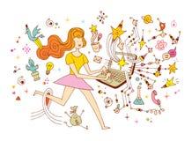 Girl programmer - freelance working concept cartoon illustration royalty free illustration
