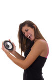 Girl promoting speaker Stock Photo