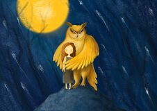 A girl protected by an owl. Guardian angel in hard times