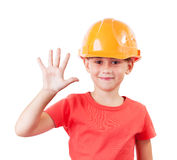Girl in a protective helmet Royalty Free Stock Photo