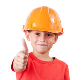 Girl in a protective helmet Royalty Free Stock Photos