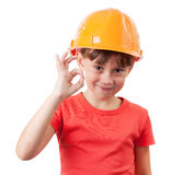 Girl in a protective helmet Royalty Free Stock Images