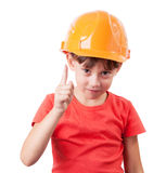 Girl in a protective helmet Stock Images