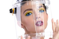 The girl in protective helmet royalty free stock images