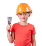 Girl in a protective helmet sits Stock Images