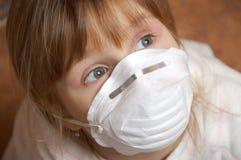 Girl with protective mask Stock Image