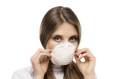 Girl with protective mask Royalty Free Stock Photography