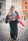 Girl protesting against Gaza strip bombing in Milan, Italy Royalty Free Stock Photo
