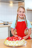 Girl proud of her strawberry Stock Photography