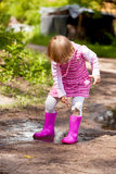 Girl in a puddle Stock Photography