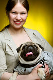 Girl and pug Royalty Free Stock Photography