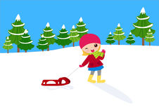 A girl pull sled Royalty Free Stock Photo
