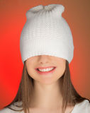 The girl pulled my cap over eyes Royalty Free Stock Photo