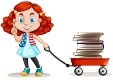 Girl pulling cart full of books Stock Photo