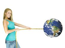 Girl pulling earth Royalty Free Stock Photo