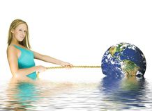 Girl pulling earth Stock Images