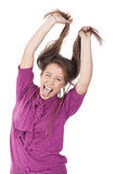 Girl pulling hair and having fun Royalty Free Stock Photography