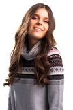 Girl in pullover is smiling. Royalty Free Stock Photos
