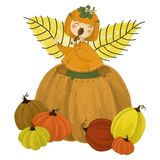 Girl in pumpkin royalty free illustration