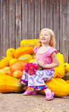 Girl with pumpkin Royalty Free Stock Photos