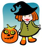 Girl and pumpkin Stock Photos
