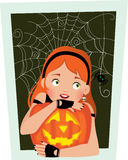 Girl with pumpkin Halloween Royalty Free Stock Photo