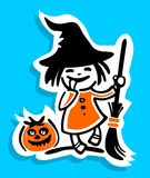 Girl and pumpkin Royalty Free Stock Images