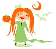 Girl with pumpkin Royalty Free Stock Image