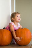 Girl with Pumpkin. Little girl selects a huge pumpkin Royalty Free Stock Images